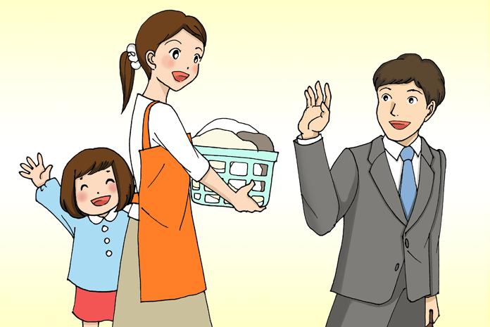 出勤する夫と、見送る妻と娘