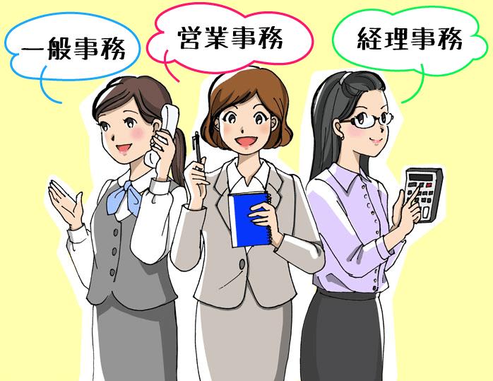一般事務、営業事務、経理事務の女性